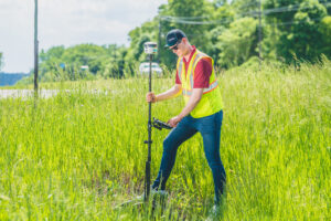 Jim Mertz running GIS in the field