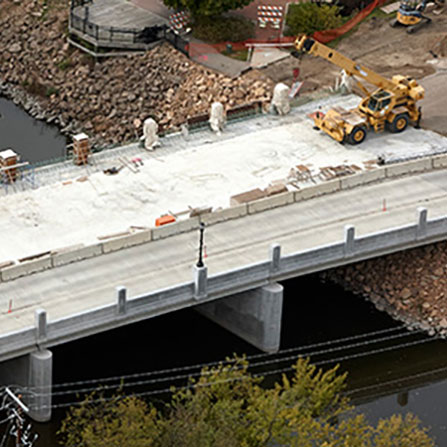 Aerial view of new CSAH 10 bridge