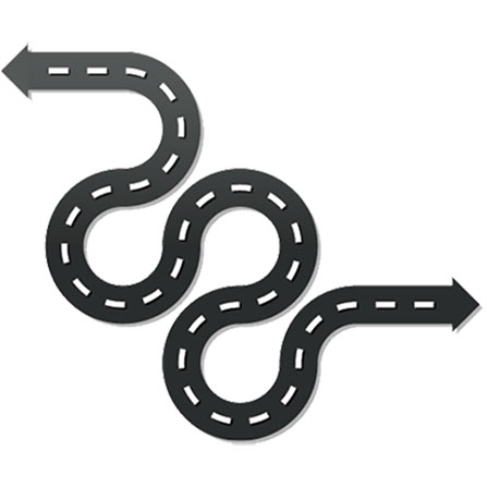 Drawing of a curvy road