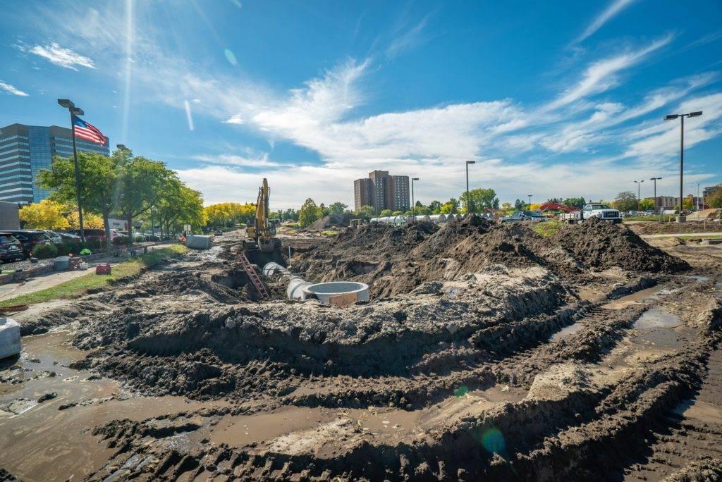 construction scene of NE Penn Drainage Area Improvements