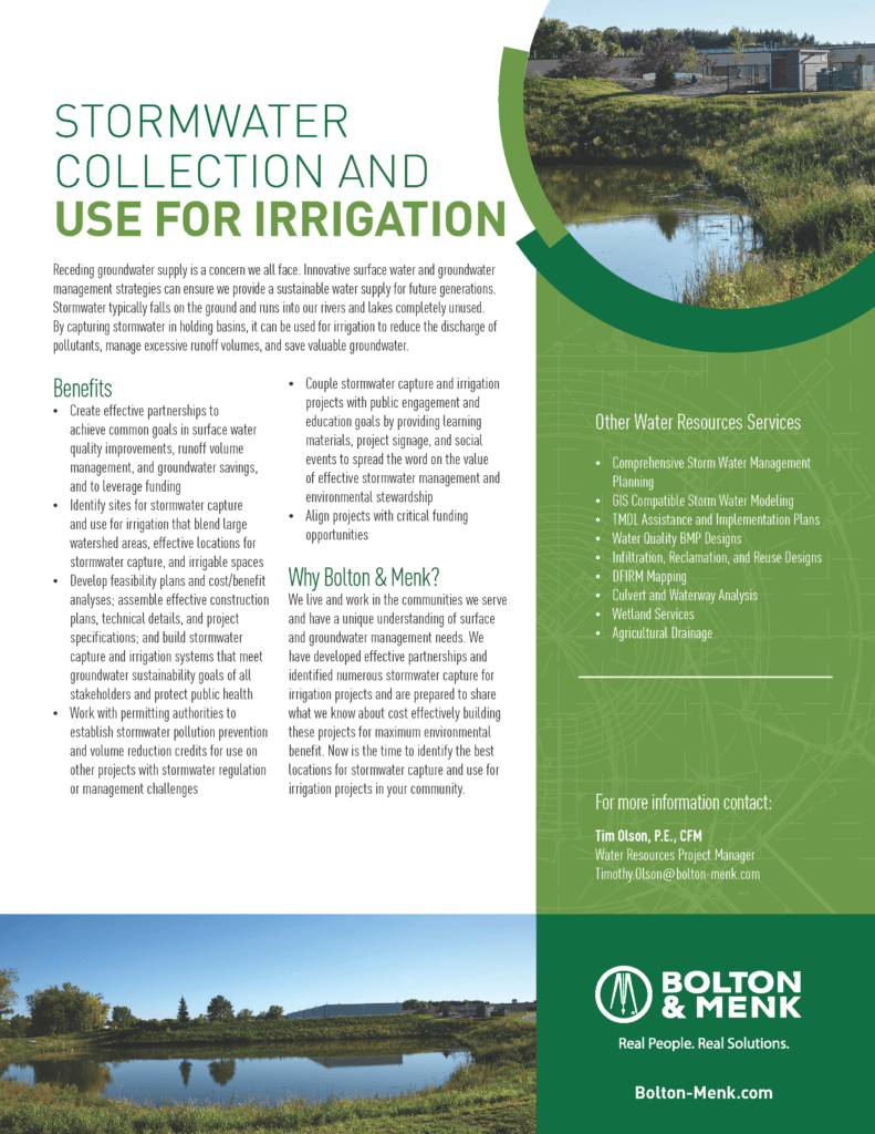 stormwater collection and use for irrigation sales tool