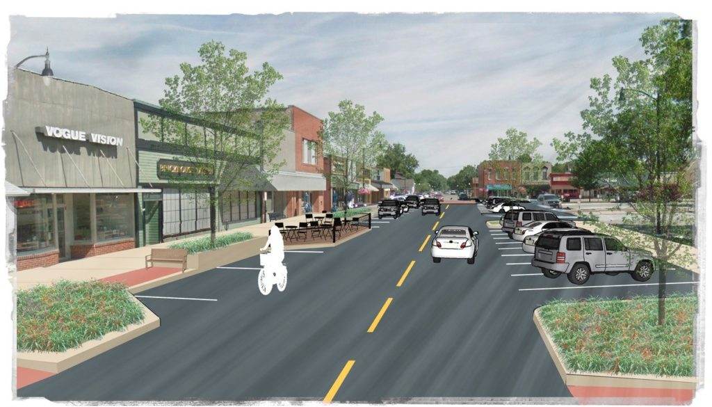 streetscape rendering with bikers, cars, buildings, and restaurants