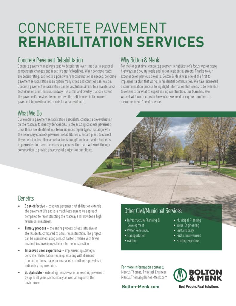 concrete pavement rehabilitation sales tool
