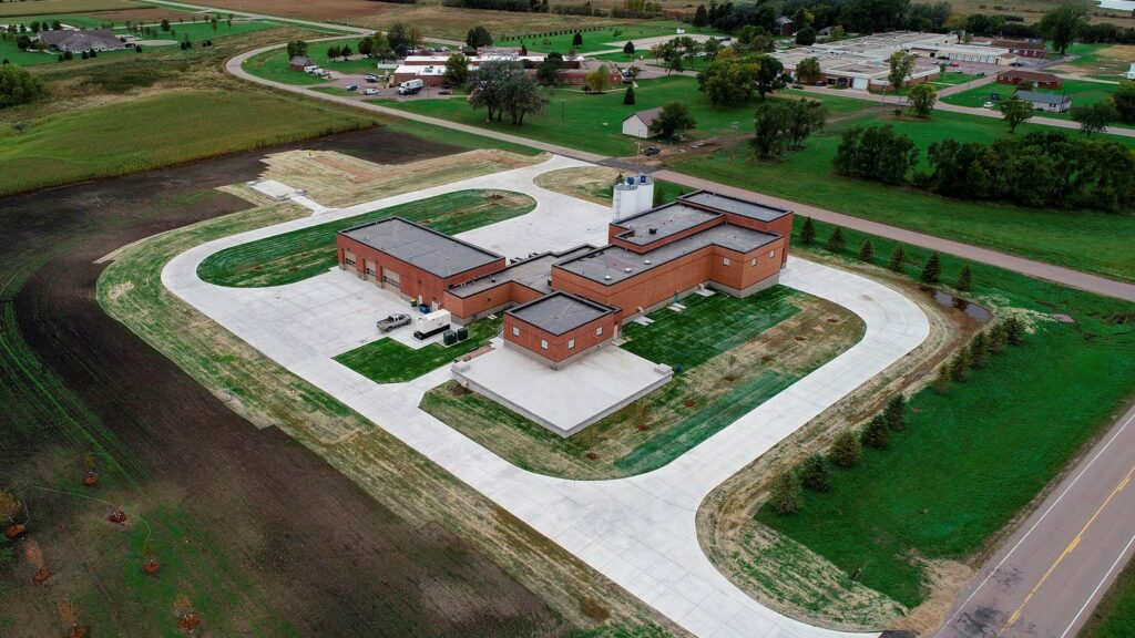 aerial image of Pipestone, Minnesota water treatment facility