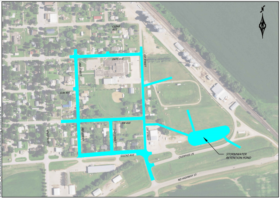Map of project area for street   and stormwater project