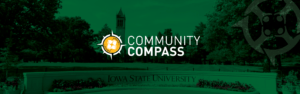 Iowa state wow wall with campanile and community compass branding